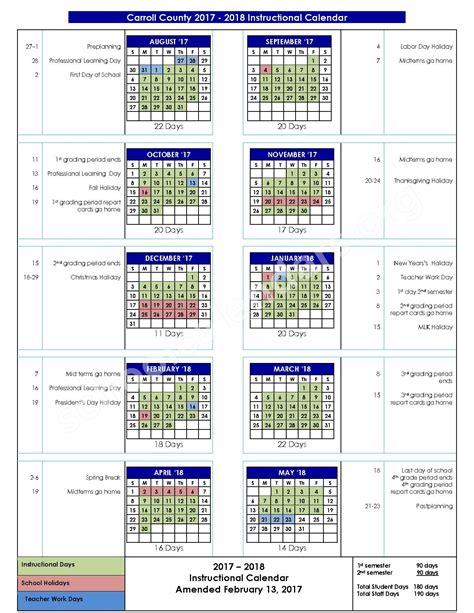 Carroll County School Calendar 2016 2017 School Calendar Carroll County Schools