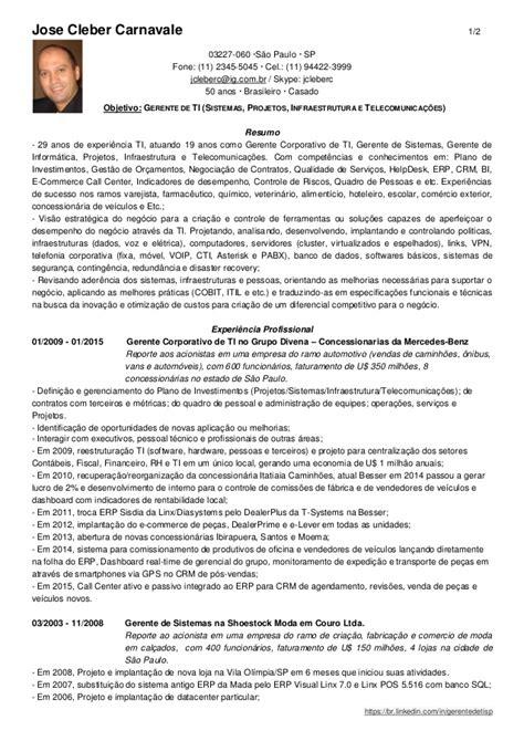 Modelo Curriculum Vitae Gerente Curr 237 Culo Gerente Corporativo Ti Jose Cleber Carnavale