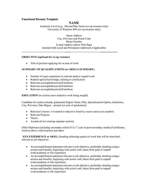 Template For Functional Resume by Functional Resume Template Word Best 25 Functional Resume