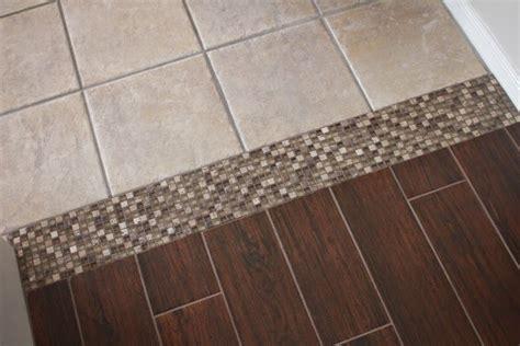 carpet ceramic tile transition tile to tile transition using a mosaic new tile is