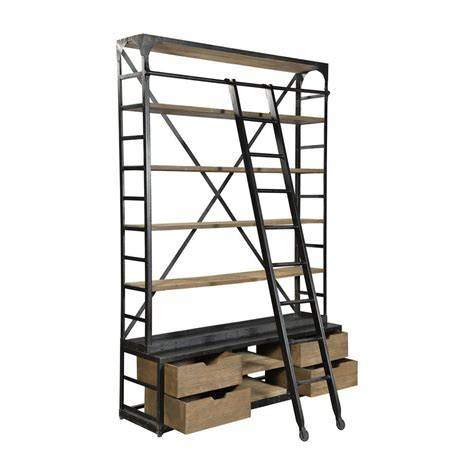 industrial bookcase with ladder and drawers chairish