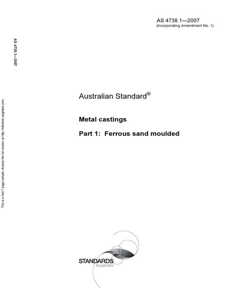 As 4738.1-2007 Metal Castings Ferrous Sand Moulded