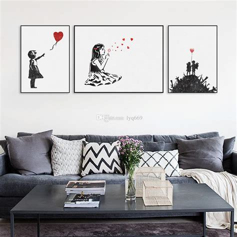 black art home decor 2018 modern black white banksy poster print a4 urban