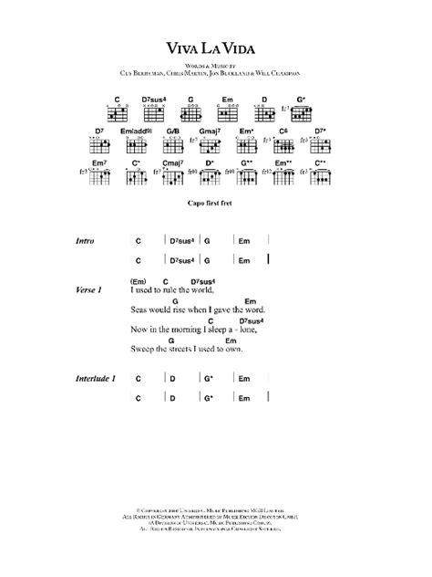 viva lyrics viva la vida by coldplay guitar chords lyrics guitar