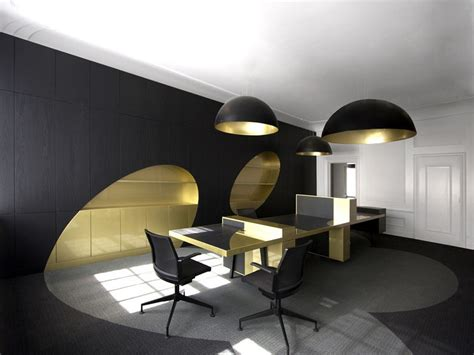 interior decoration for office black round chandelier on plain ceiling under office table