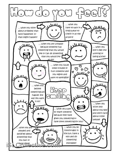 printable games for teaching english how do you feel board game worksheet free esl