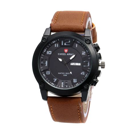 Jam Tangan Pria Swiss Army Date Smile Leather Brown Murah jual swiss army 002 jam tangan pria coklat