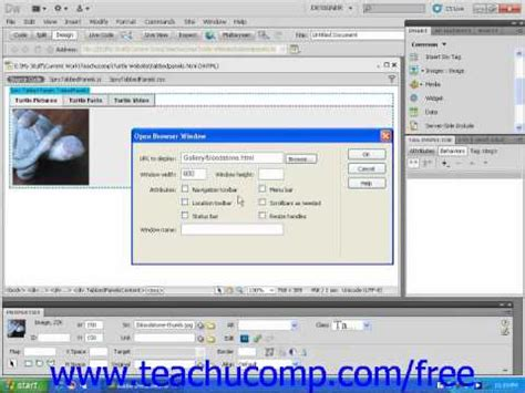 tutorial dreamweaver cs5 dreamweaver cs5 tutorial open browser window behavior