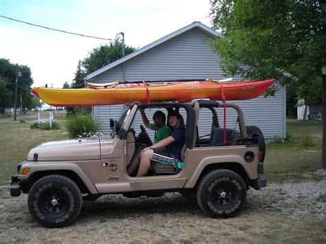 jeep kayak rack wrangler with kayak s roof rack jeepforum com jeep