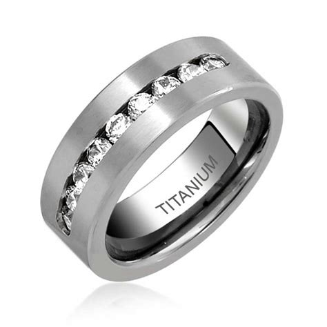 8mm Titanium Wedding Band by Mens Titanium Channel Set Cubic Zirconia Wedding Band Ring 8mm