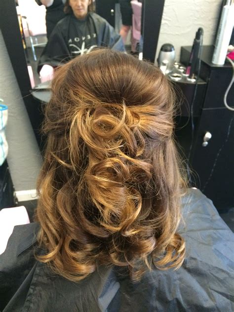 of the hair half up half medium length classically chic designs by leslie