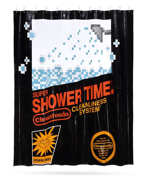 nintendo shower curtain now you re showering with power
