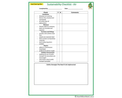 sustainability policy template sustainability checklist air aussie childcare network