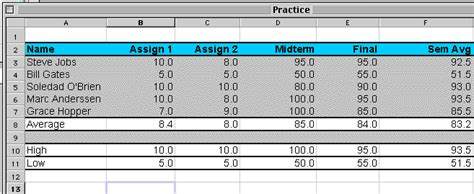 excel practice assignment