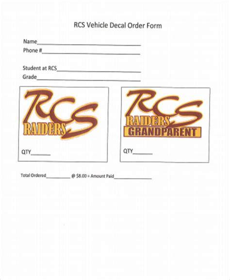 vehicle order form sle vehicle order form 10 exles in word pdf