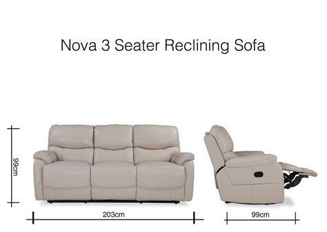 seater cream leather reclining sofa nova ez living