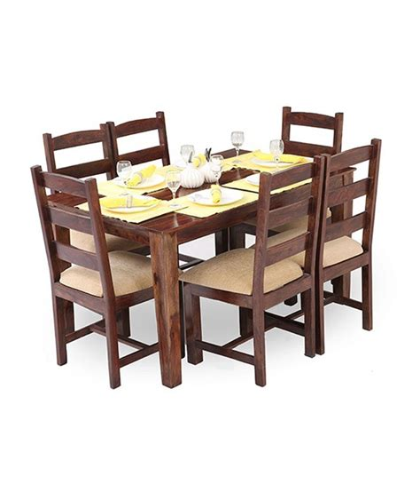 Ethnic India Madrid 6 Seater Sheesham Wood Dining Set With Table Buy Ethnic India Ethnic India Curoz 6 Seater Dining Set In Sheesham Wood Available At Snapdeal For Rs 26499