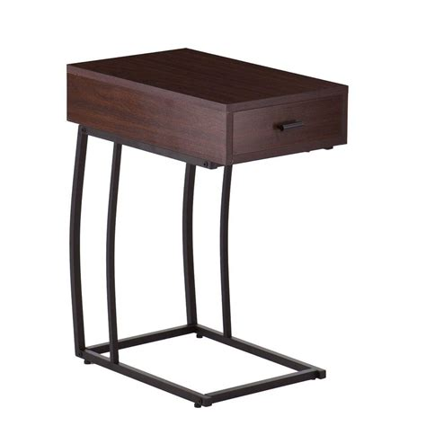 end table with usb port southern enterprises walnut usb port side table
