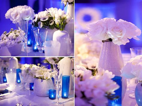 Blue And White Wedding Reception Decorations by Modern Wedding Reception Decor Blue Lighting White