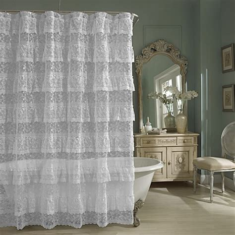 white lace shower curtains priscilla lace shower curtain in white bed bath beyond