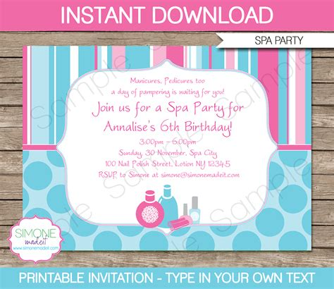 Spa Party Invitations Template Birthday Party Birthday Invitation Editable Templates