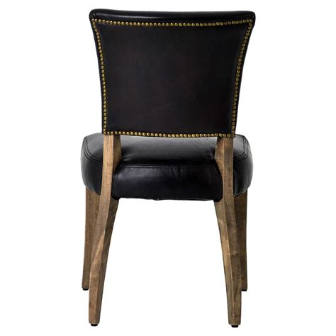 Black Leather Dining Chair Melba Modern Classic Black Leather Dining Chair Pair Kathy Kuo Home