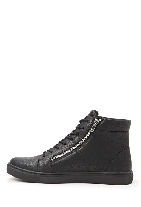 black leather sneakers mens forever 21 zippered faux leather sneakers in black for