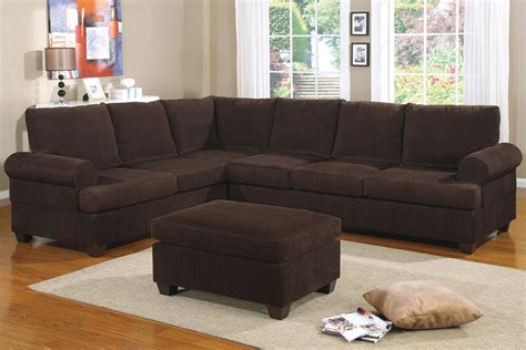 corduroy chocolate sofa sectional reversible set ottoman