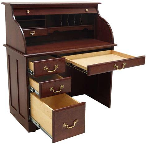 42 Quot W Single Pedestal Solid Cherry Roll Top Desk Cherry Roll Top Computer Desk