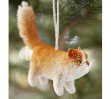 tabby cat ornament bottlebrush orange tabby cat ornament pottery barn