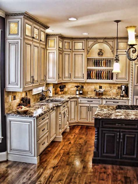 antiqued kitchen cabinets antiqued kitchen crown molding