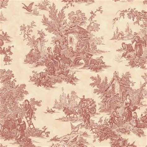 classic toile wallpaper the wallpaper company 56 sq ft burgundy and cream large