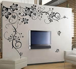 Wall Stickers Large large black vine flower rattan butterfly removable vinyl wall decal s