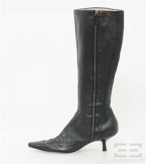 chanel black leather point toe knee high kitten heel boots