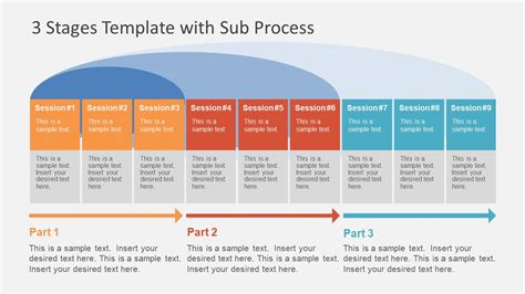 3 Stages Template With Sub Process Slidemodel Powerpoint Template Process Flow