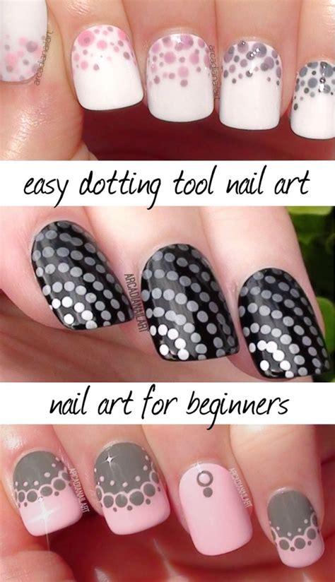 easy nail art using dotting tool 3 easy dotting tool designs nail art for beginners video