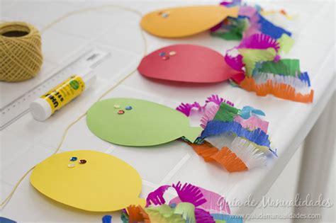 como hacer cadenas de papel crepe de tres colores guirnalda de globitos para fiestas gu 237 a de manualidades