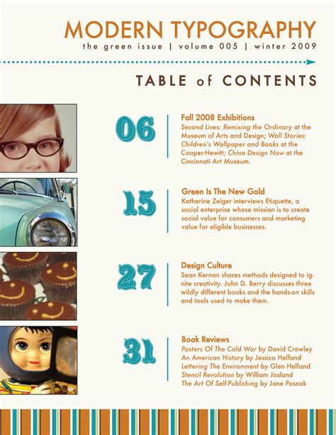 modern type table of contents layout design project