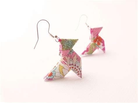 Bijoux Origami - boucles d oreilles origami coton japonais fleurs bijoux