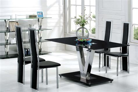 modern dining table and chairs set contemporary black glass dining set homehighlight co uk