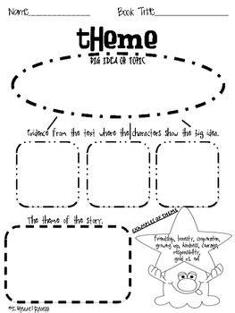 theme in literature graphic organizer graphic organizer identify theme by jessica scott tpt