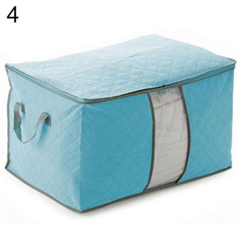 Bamboo Storage Box Cloth Organizer 4 Sisi 4 Sekat Besar portable bamboo charcoal clothes folding bag storage box