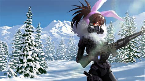 wallpaper anime girl gun armored gas mask bunny ears