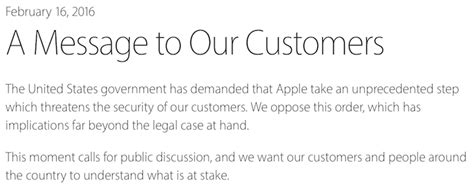 Apple Backdoor Customer Letter Quot Dangerous To Create Quot Apple Defies Fbi Order To Build Backdoor Software To Unlock Any Iphone