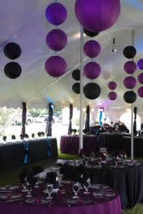 purple and black lanterns used as decor