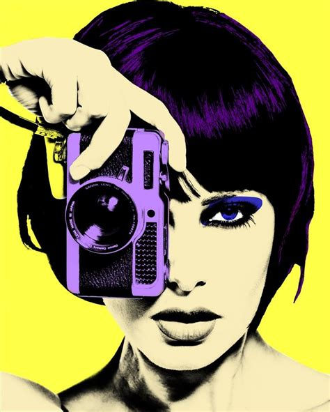 art beauty camera clothes fashion yellow and purple pop art classic painting style pop art