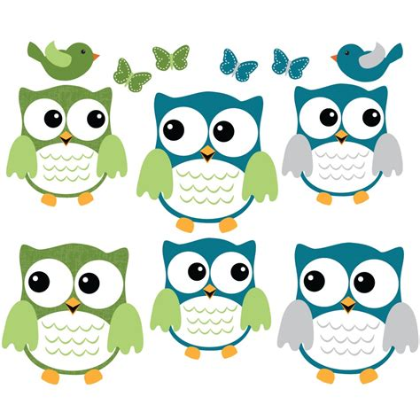 Car Wall Stickers For Nursery blue and grey owl tree wall decal with bird wall decor for