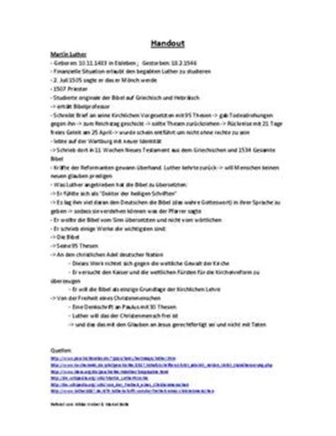 Anschreiben Laben Auf Englisch Referat 252 Ber Martin Luther Leben Und Wirken Schulhilfe De