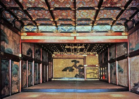 Japanese Palace Interior by Nijo Caste See Elaborate Wood Carvings Wall Paintings