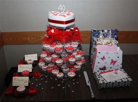 cupcake decorating ideas wedding cake red   40th Wedding
